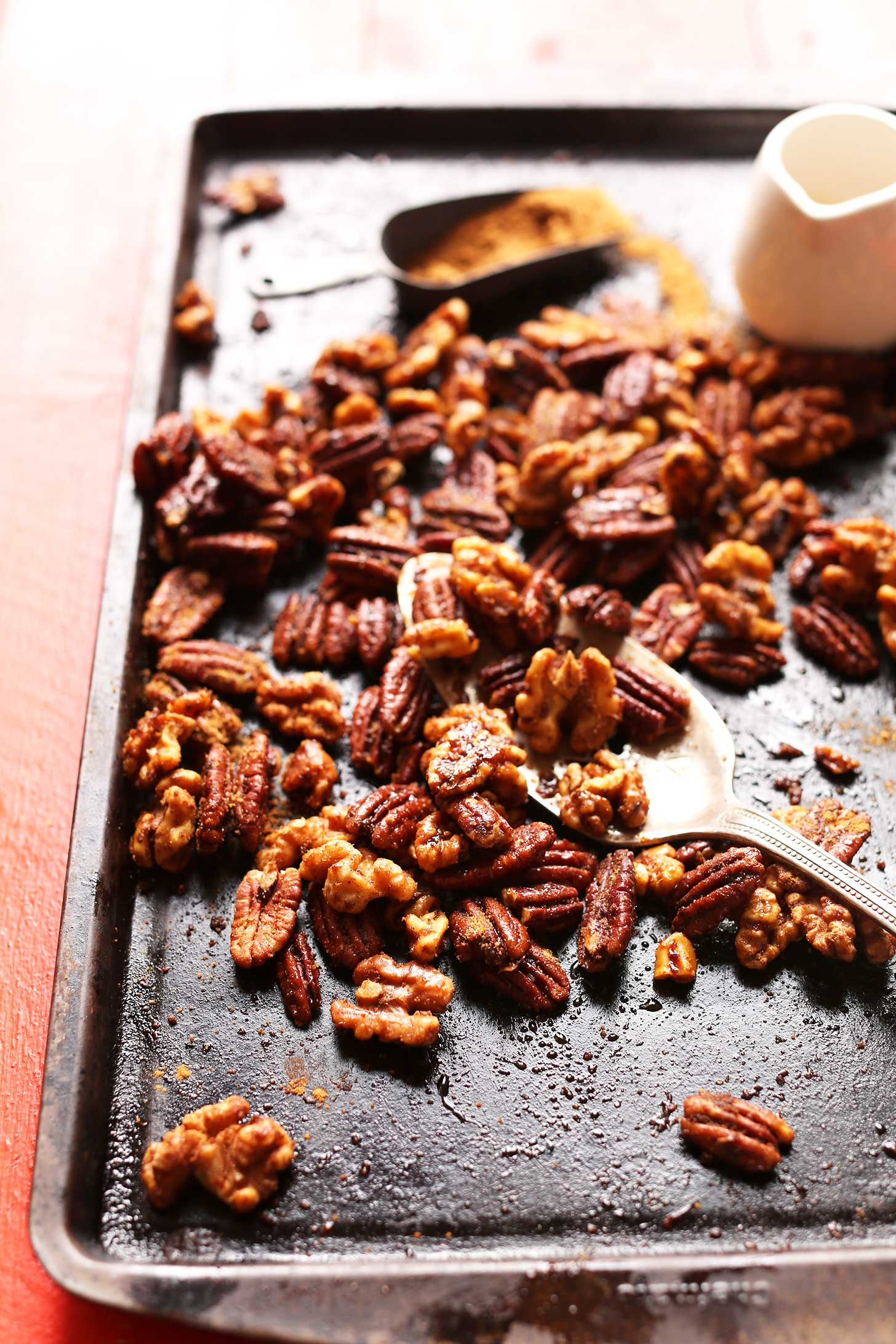 Easy Freshly Roasted Candied Nuts on a baking sheet