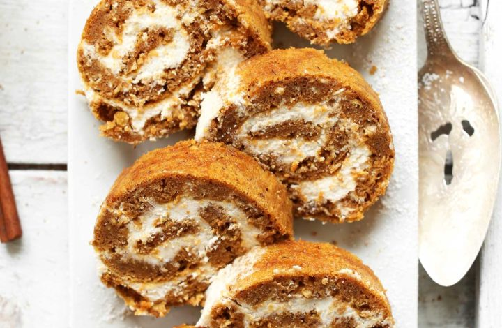 Slices of gluten-free vegan Pumpkin Roll on a plate