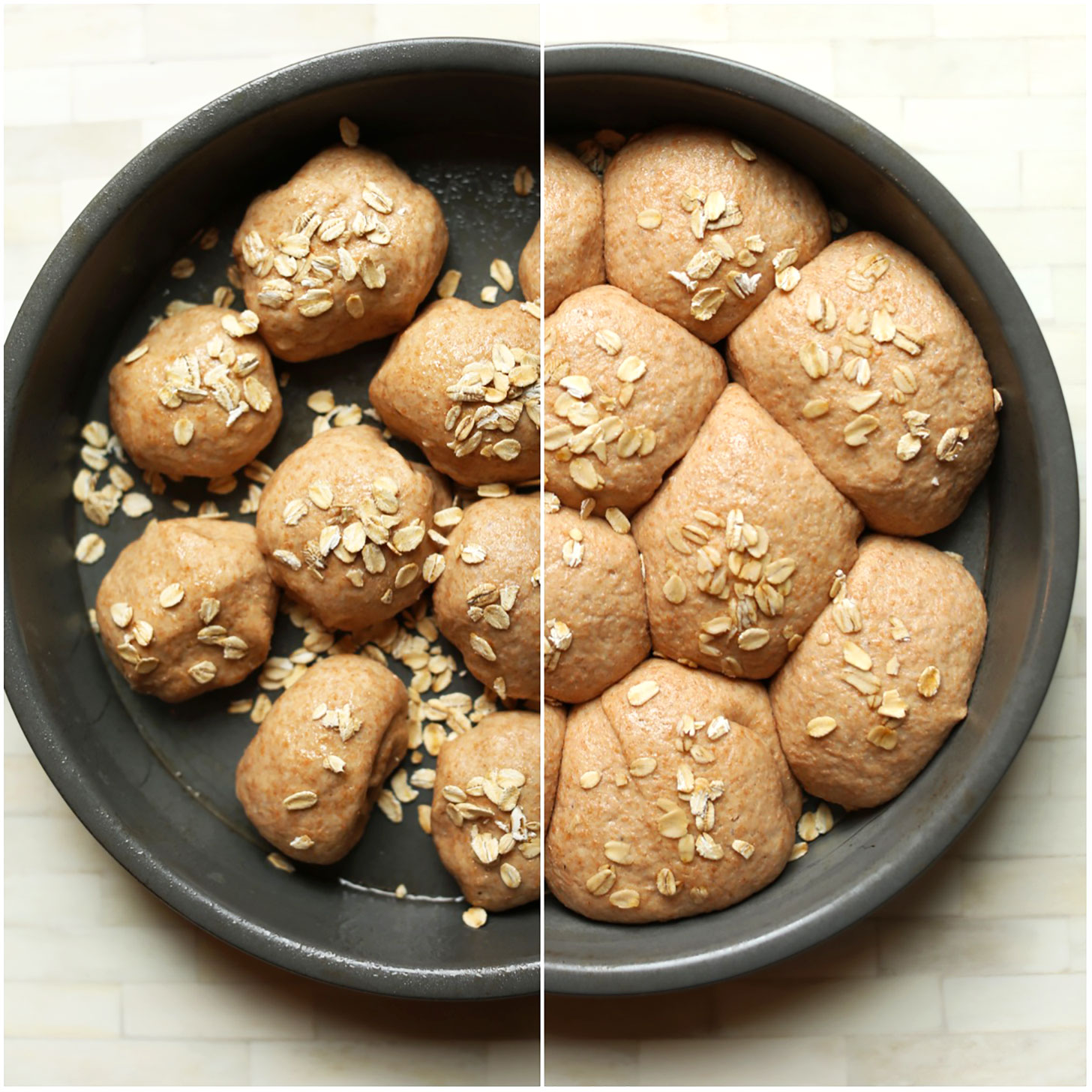 Photo contrasting vegan thanksgiving rolls before and after proofing