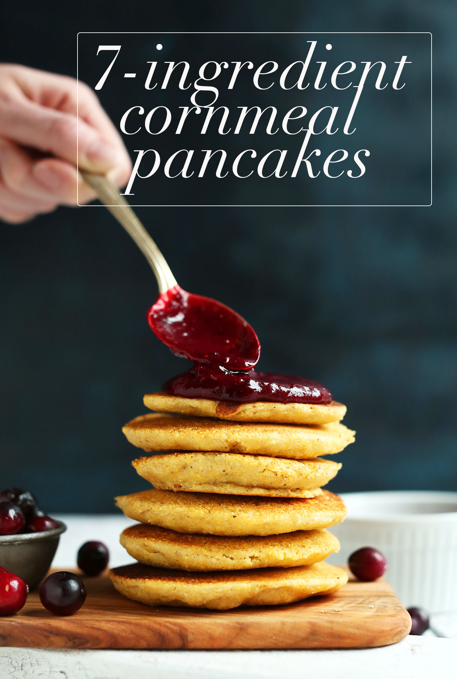 Vegan cornmeal pancakes minimalist baker recipes spreading cranberry compote onto gluten free vegan cornmeal pancakes ccuart Image collections