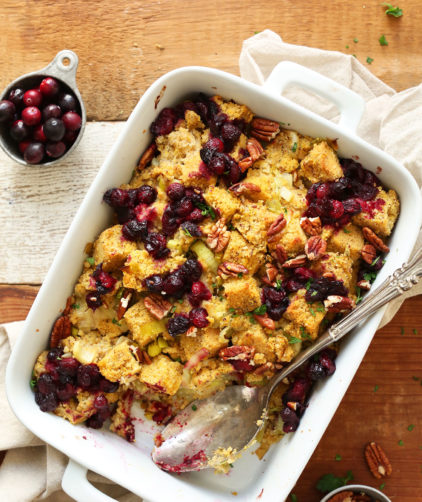 Baking dish filled with stuffing for a gluten-free vegan thanksgiving
