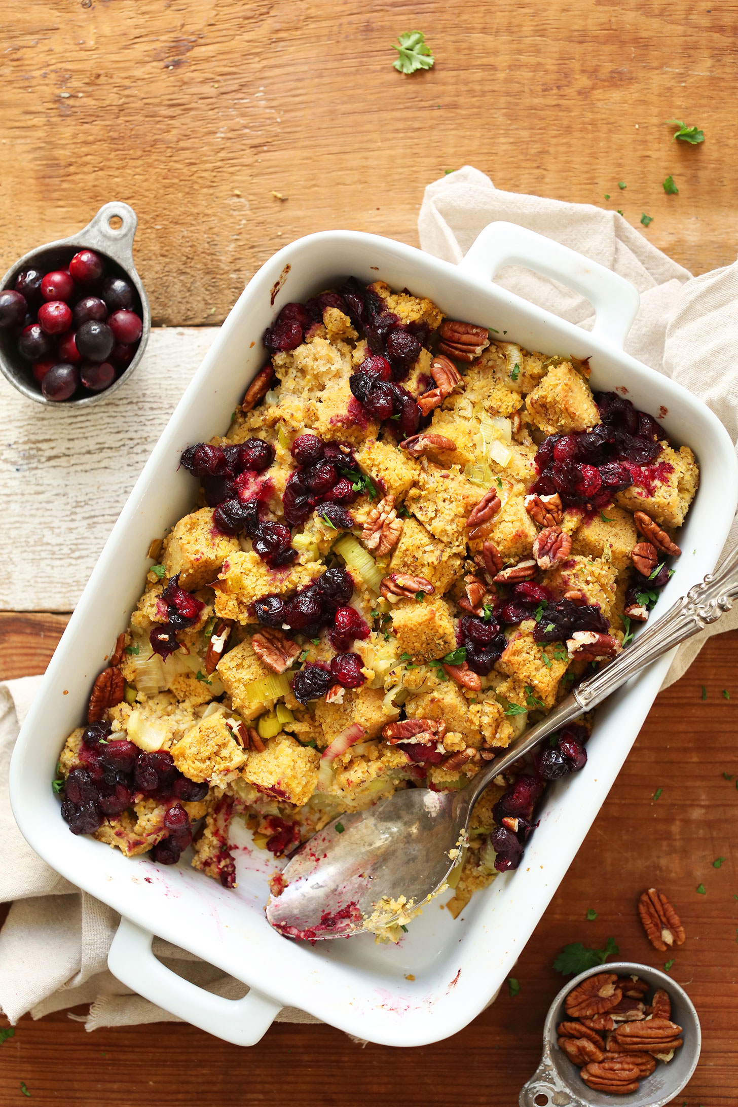 Ceramic baking dish filled with our Vegan Gluten-Free Cornbread Stuffing recipe