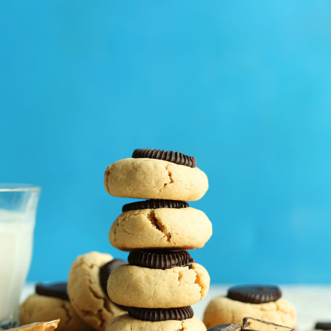 Stack of our gluten-free vegan Peanut Butter Cup Cookies