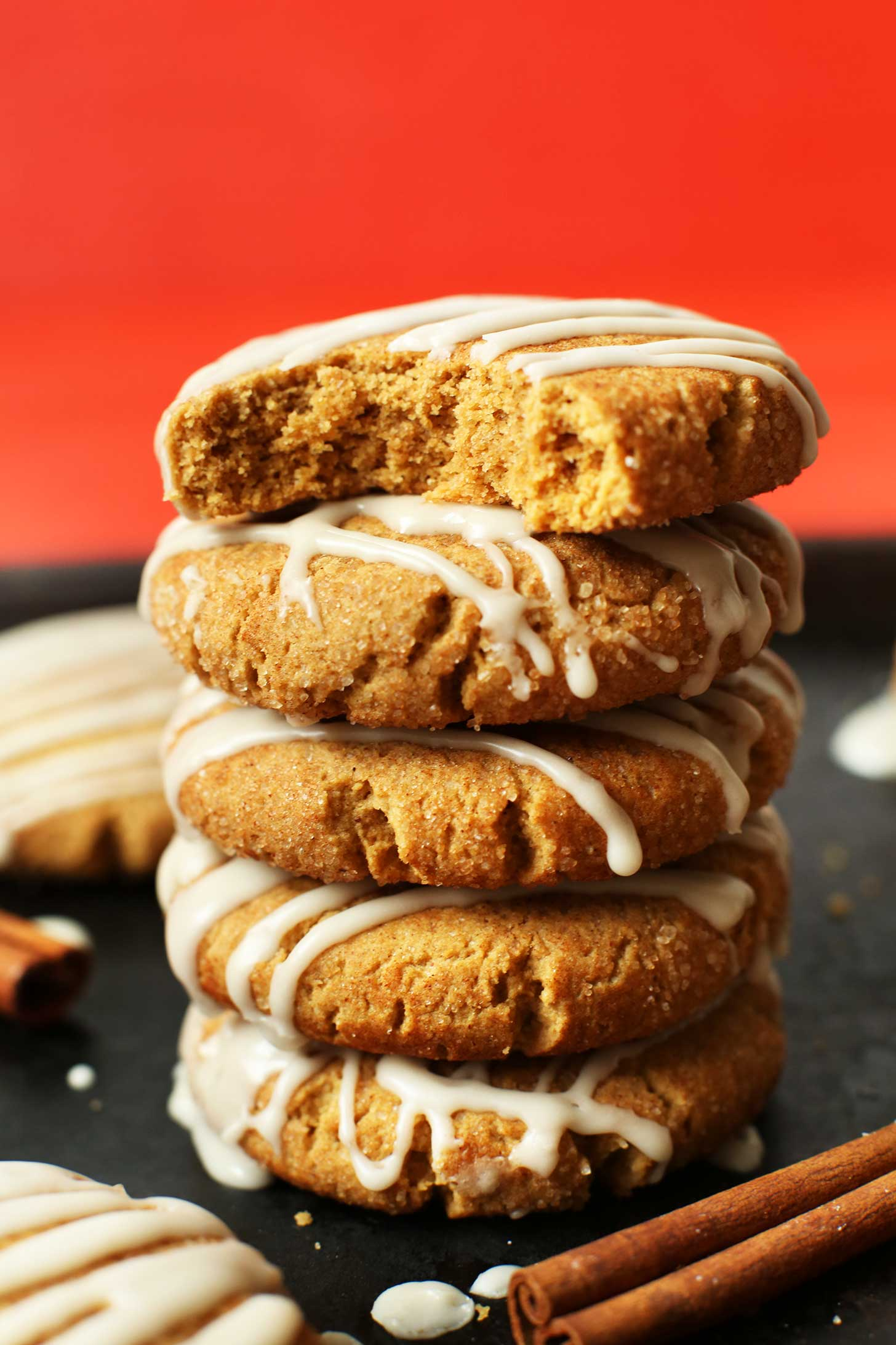 Stack of our simple gluten-free vegan Ginger Cookies