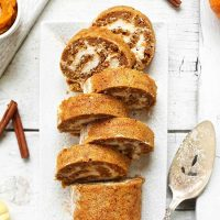Tray with slices of our Vegan Gluten-Free Pumpkin Roll recipe