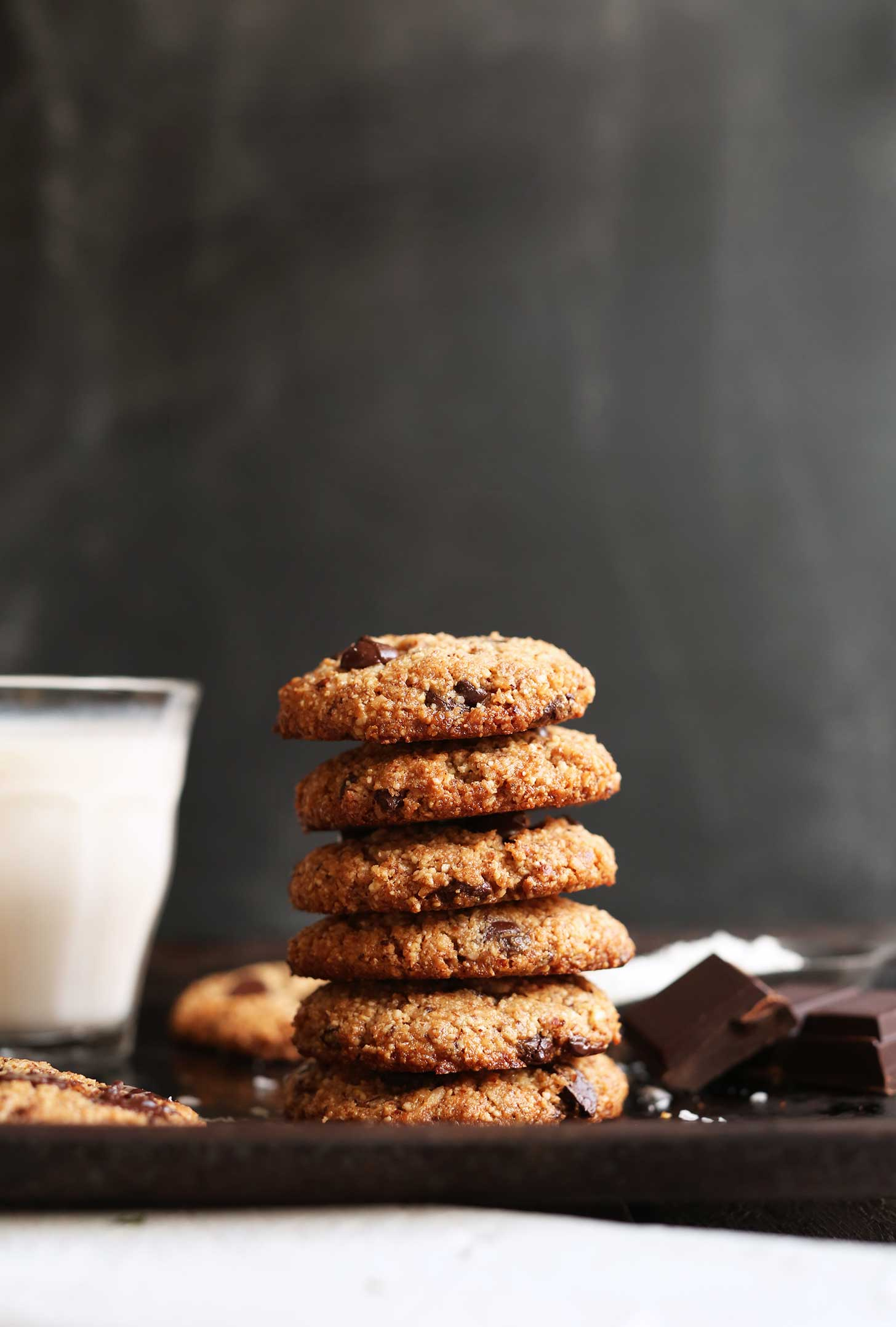 Stack of the best almond meal chocolate chip cookies with coconut