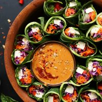 Healthy, hearty vegan spring rolls with sunflower butter dipping sauce