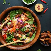 Big bowl of our Blissed Out Thai Salad with tofu