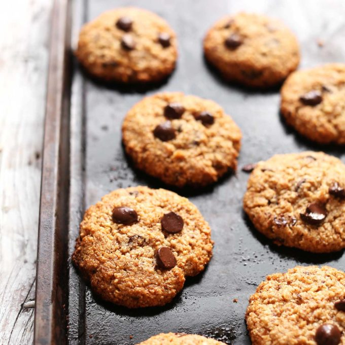 Baking sheet with vegan gluten-free Chocolate Chip Cookies
