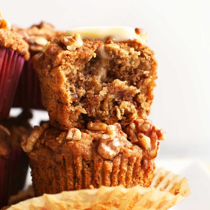 Half eaten muffin made using our Vegan Gluten-Free Banana Nut Muffin recipe