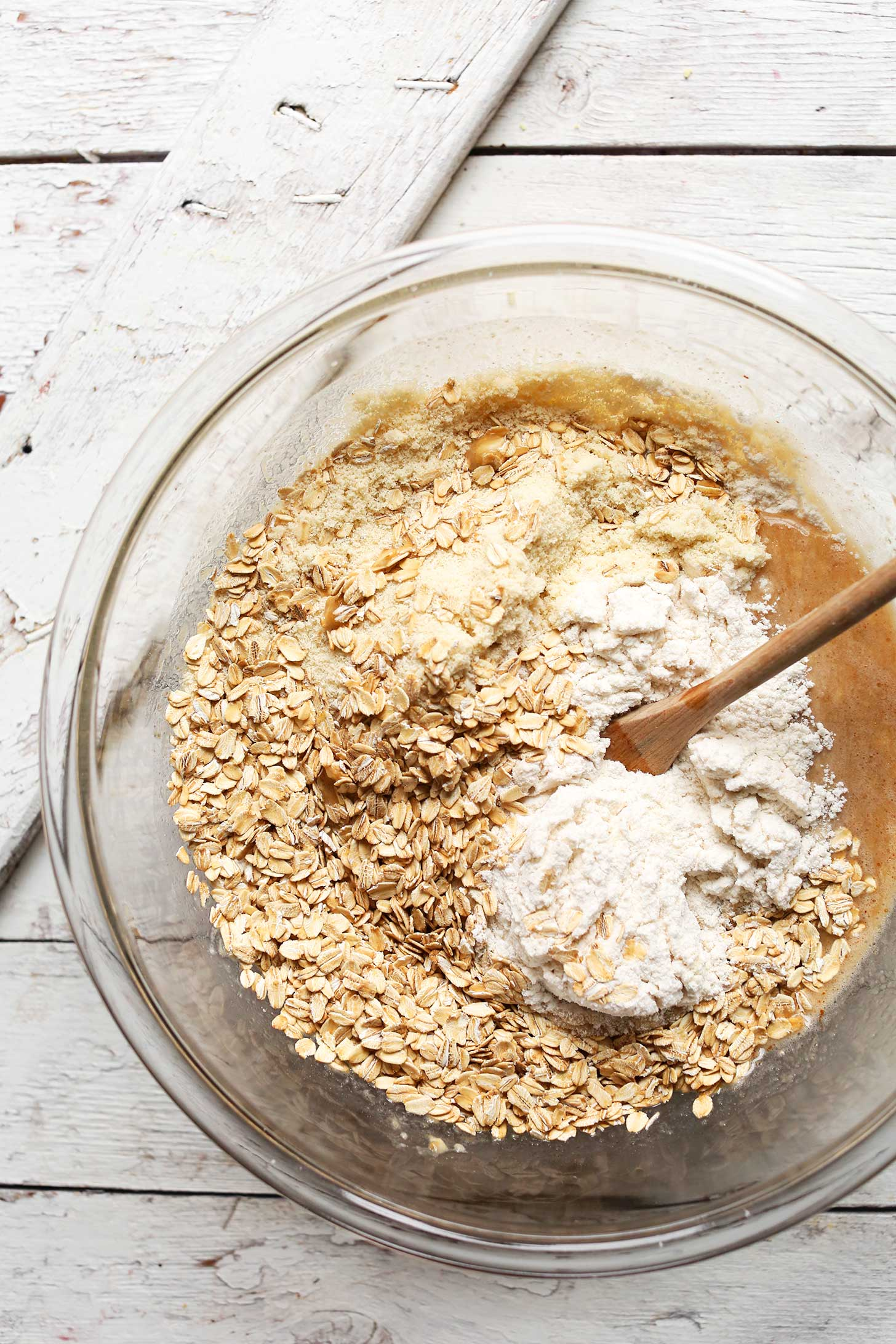 Adding oats and gluten-free flours to our Gluten-Free Banana Nut Muffins recipe