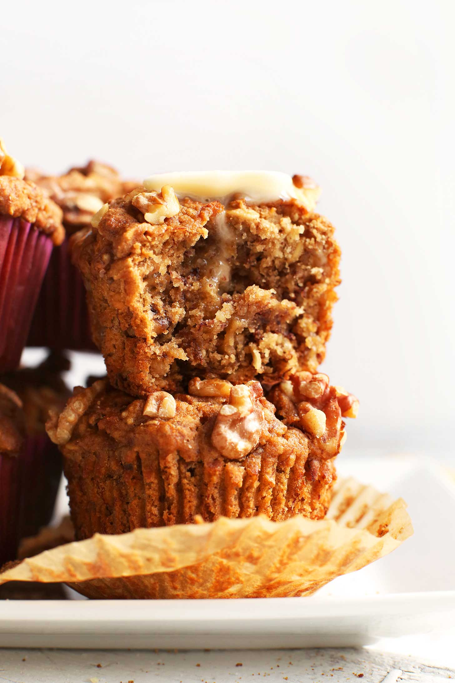 Stack of tasty Vegan Gluten-Free Banana Nut Muffins