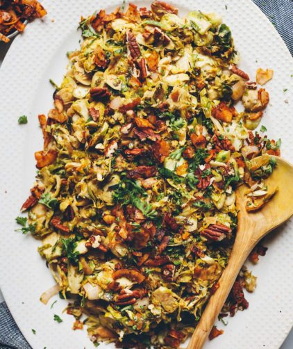 AMAZING Warm Brussels Sprout Slaw with Coconut Bacon! 30 minutes, SO flavorful and healthy! #vegan #glutenfree #brusselssprouts #salad #recipe #minimalistbaker