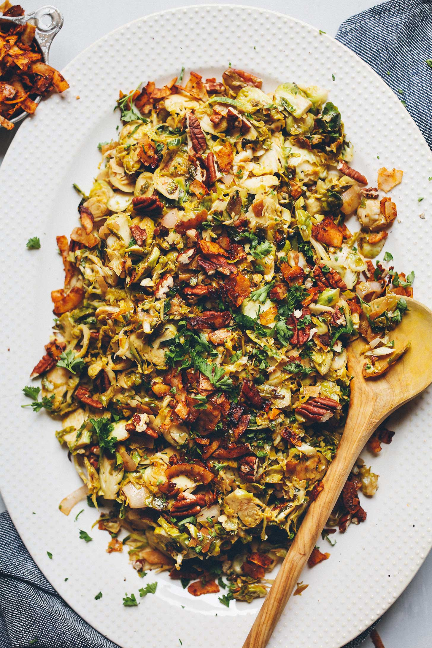 Platter filled with our gluten-free vegan Warm Brussels Sprout Slaw recipe