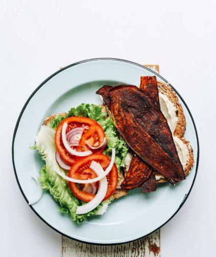 DELICIOUS Vegan BLT with Eggplant Bacon, Oil-Free Vegan Mayo, Tomato and Onion! #vegan #plantbased #blt #sandwich #healthy #recipe #minimalistbaker