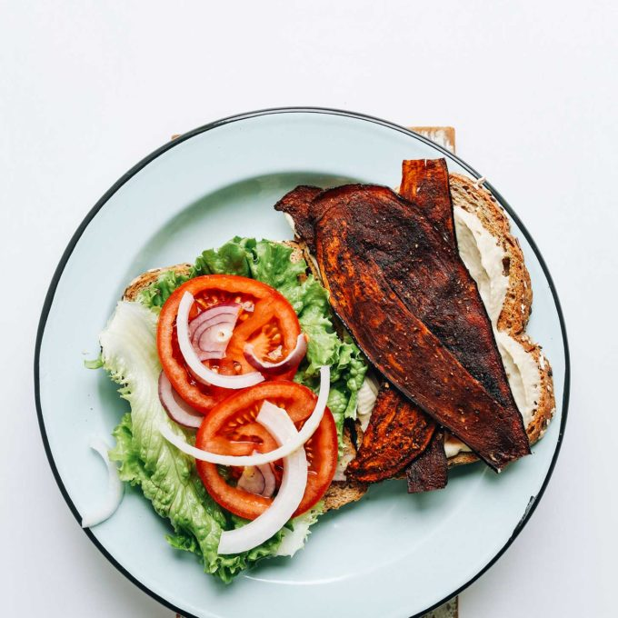 Delicious Vegan BLT on a plate