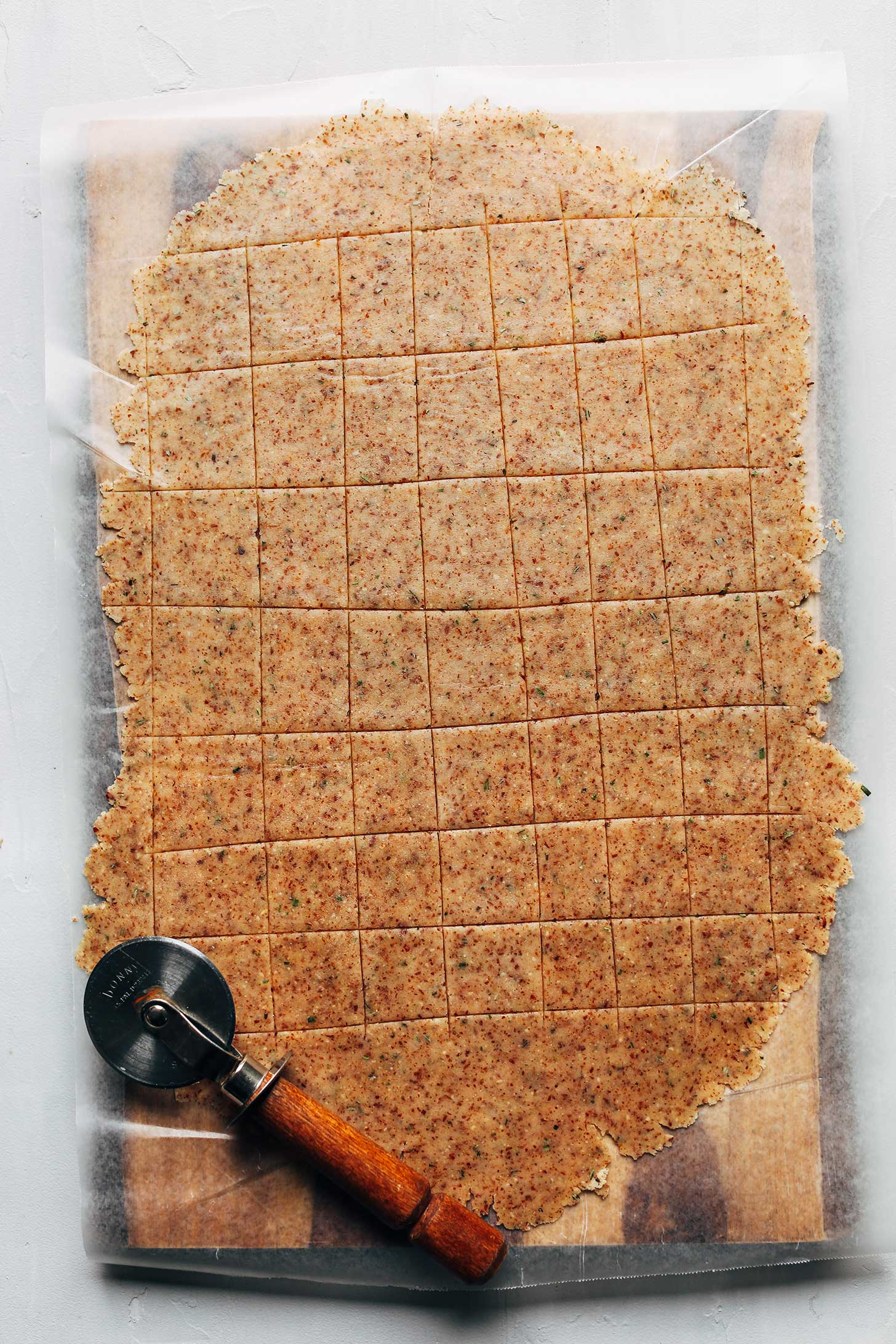 Rolled and cut dough for crispy Vegan Gluten-Free Crackers