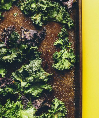 Baking sheet of homemade healthy kale chips