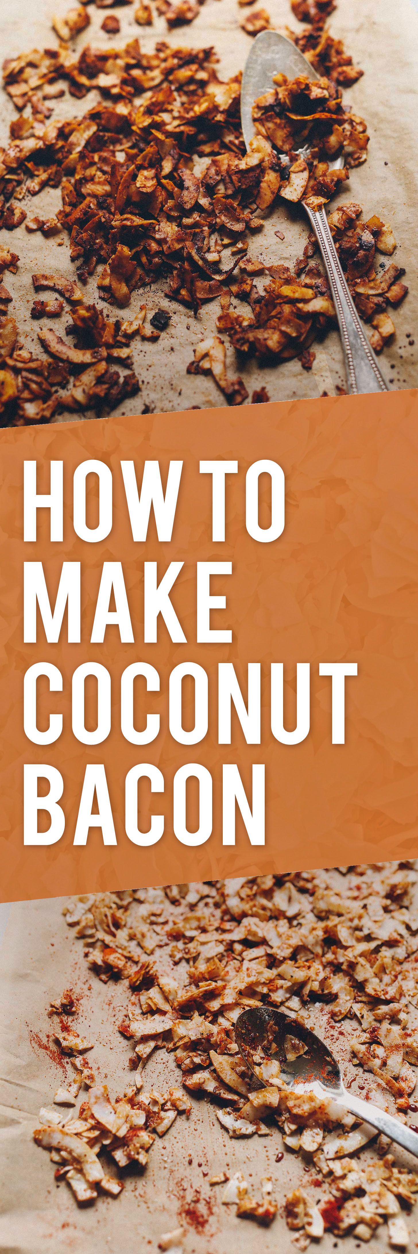 Parchment-lined baking sheets of Vegan Coconut Bacon