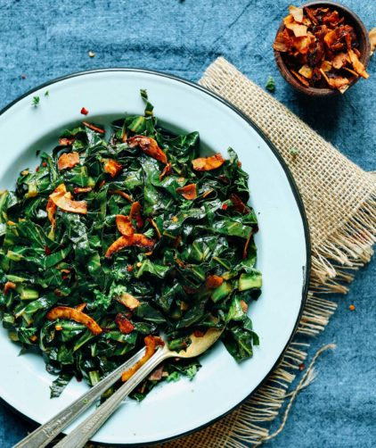 Coconut Bacon Collard Greens (15 minutes!)