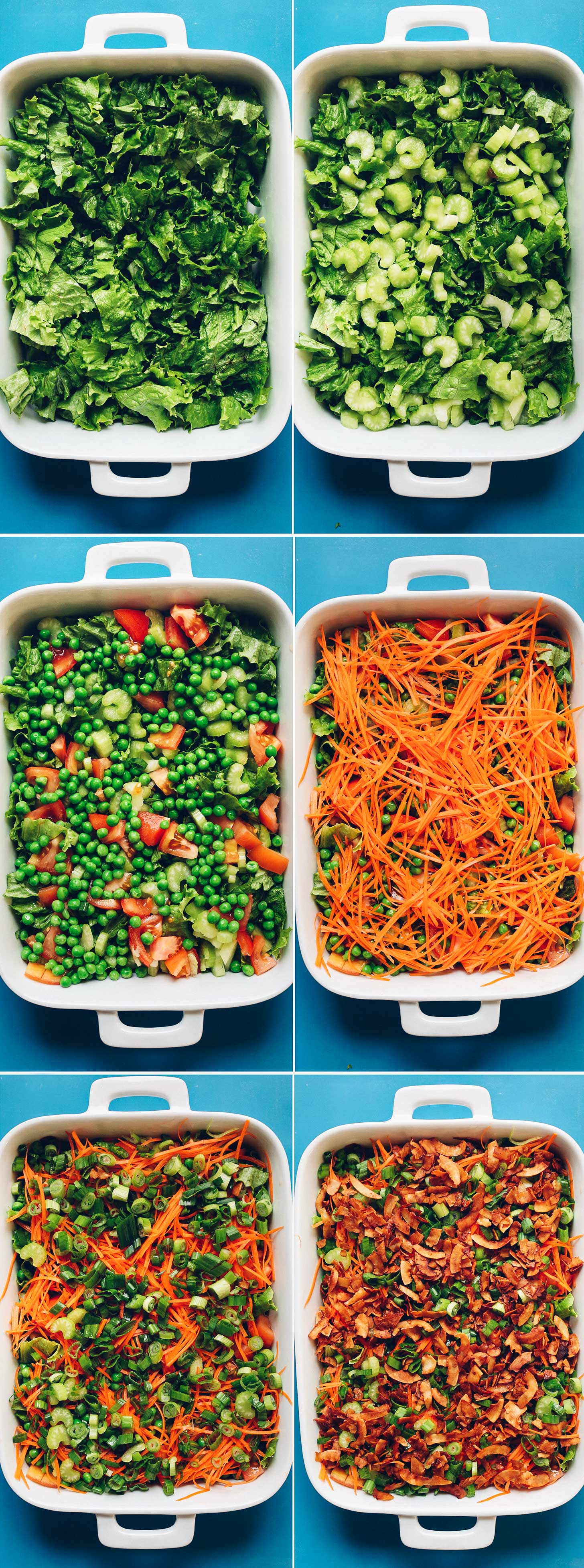 Collection of photos showing each of the layers in our Vegan 7-Layer Salad