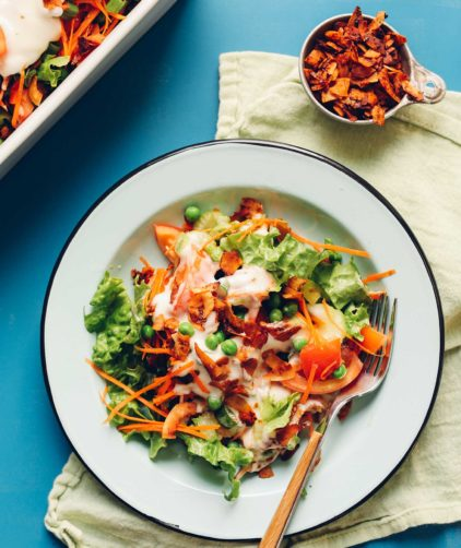 Big serving of gluten-free Vegan 7-Layer Salad for a healthy plant-based meal