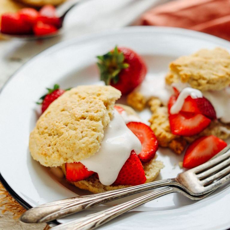 Plate of Vegan GF Strawberry Shortcake for a delicious valentine's dessert