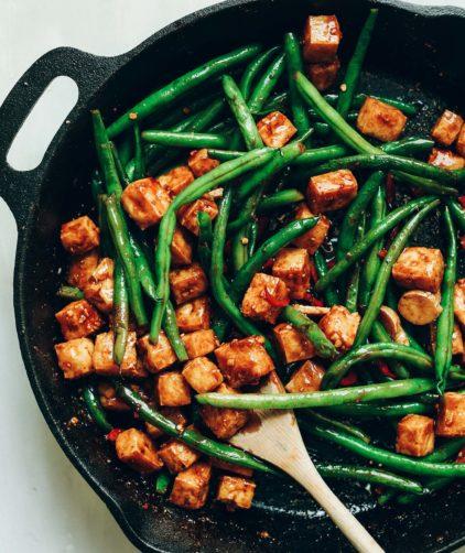 Almond Butter Tofu Stir Fry! Healthy, 9 ingredients, fast, protein-rich! #vegan #glutenfree #plantbased #stirfry #tofu #healthy #minimalistbaker