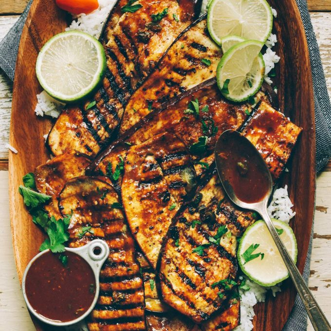Platter of plant-based Jamaican Jerk Grilled Eggplant