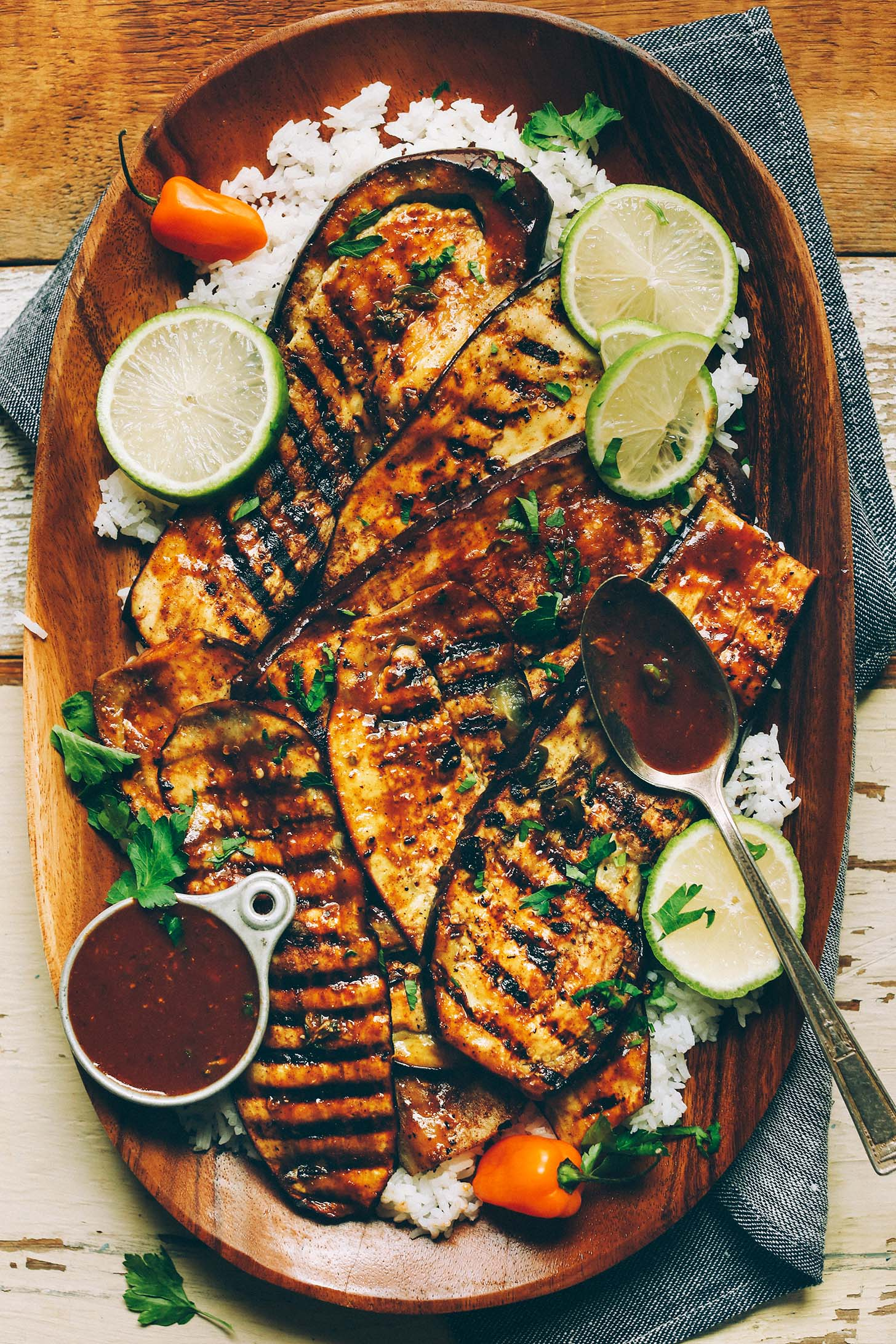 Jamaican Jerk Grilled Eggplant 30 Minutes on marinade for steak sauce