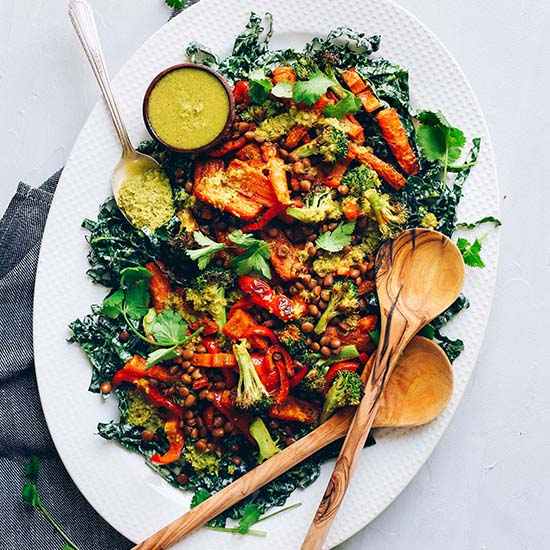 Platter of our Lentil Curry Salad made with Kale, Roasted Veggies, and Green Curry Dressing