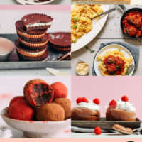 Assortment of vegan Valentine's Day recipes