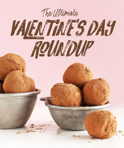 Photo of Vegan Truffles in measuring cups for our Valentine's Day Recipe Roundup