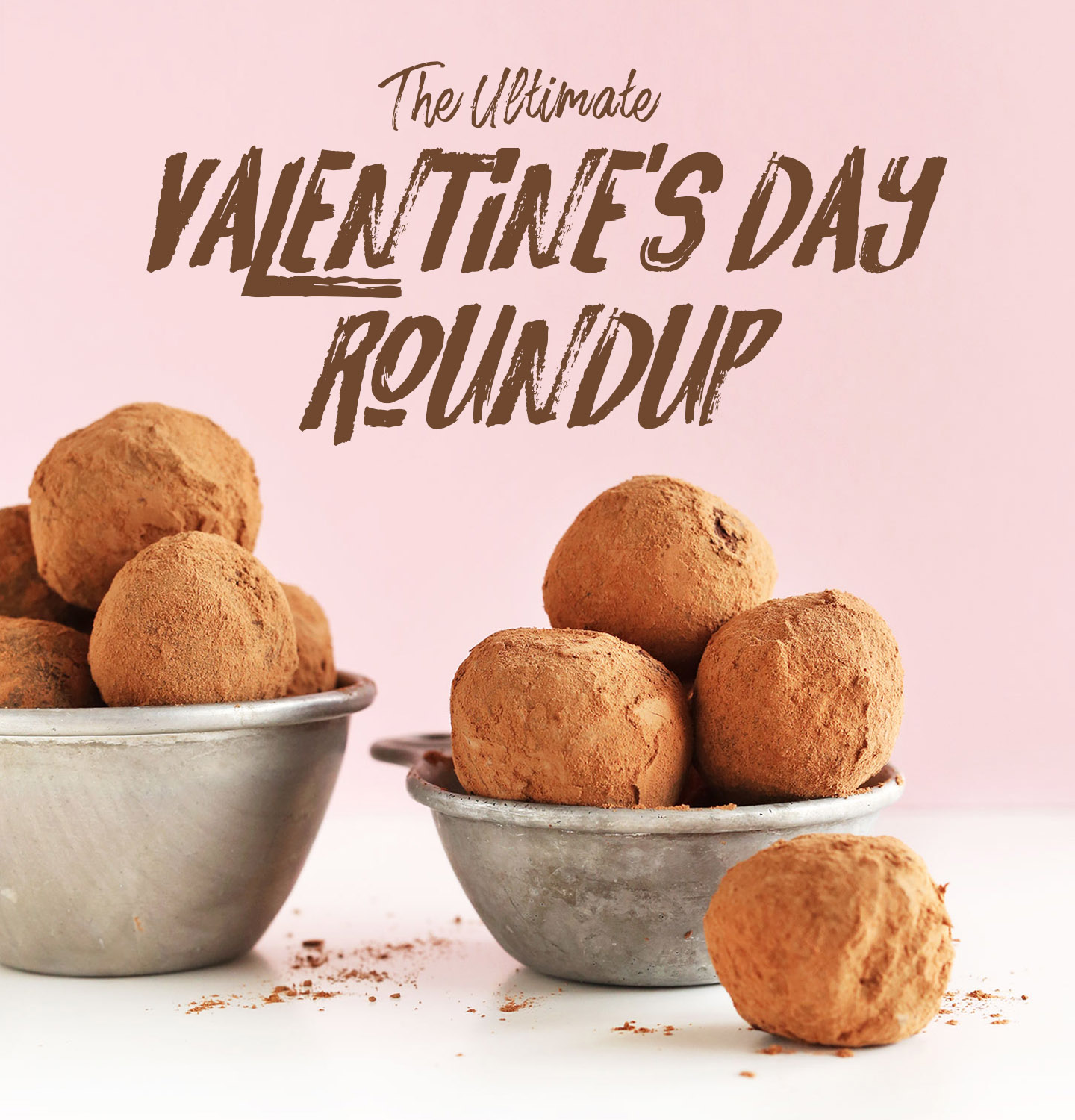 Vintage measuring cups filled with homemade Vegan Valentine's Day Truffles