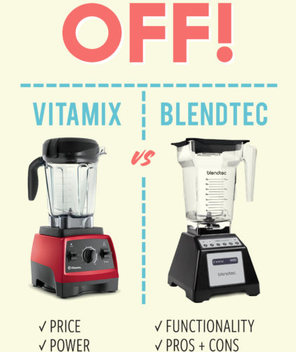 A graphic showing our honest review of Vitamix and Blendtec blenders
