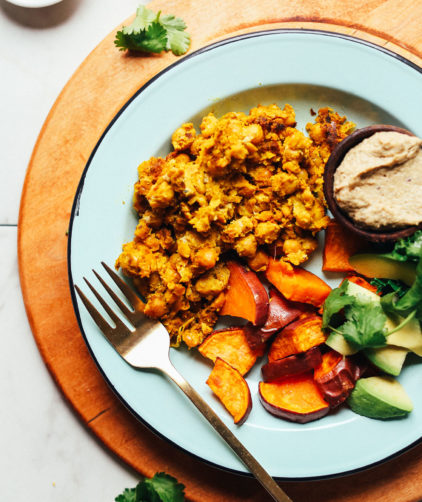 Plate with Chickpea Scramble and goodies for a healthy plant-based meal