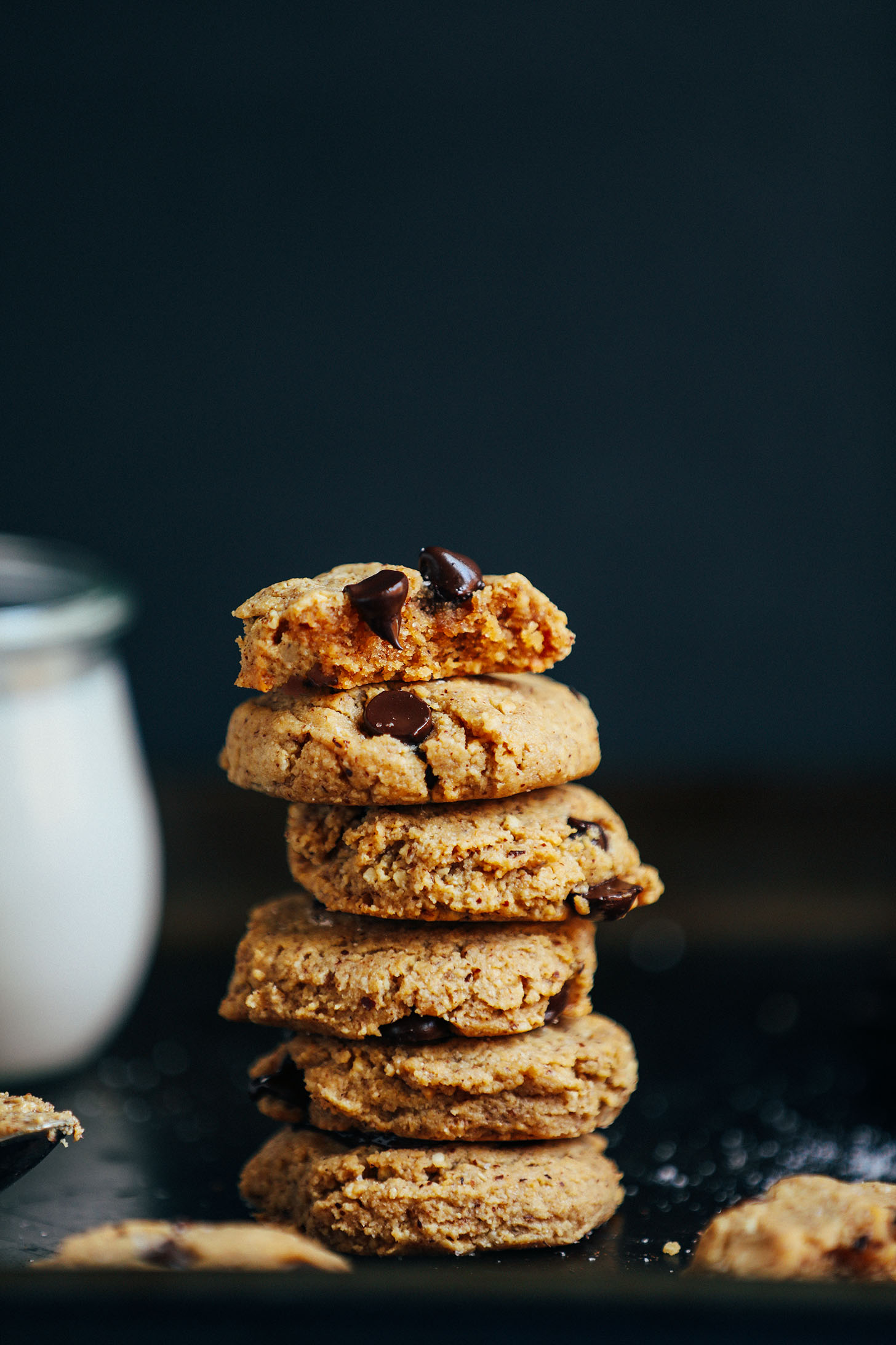 Stack of grain-free vegan low sugar Almond Butter Chocolate Chip Cookies