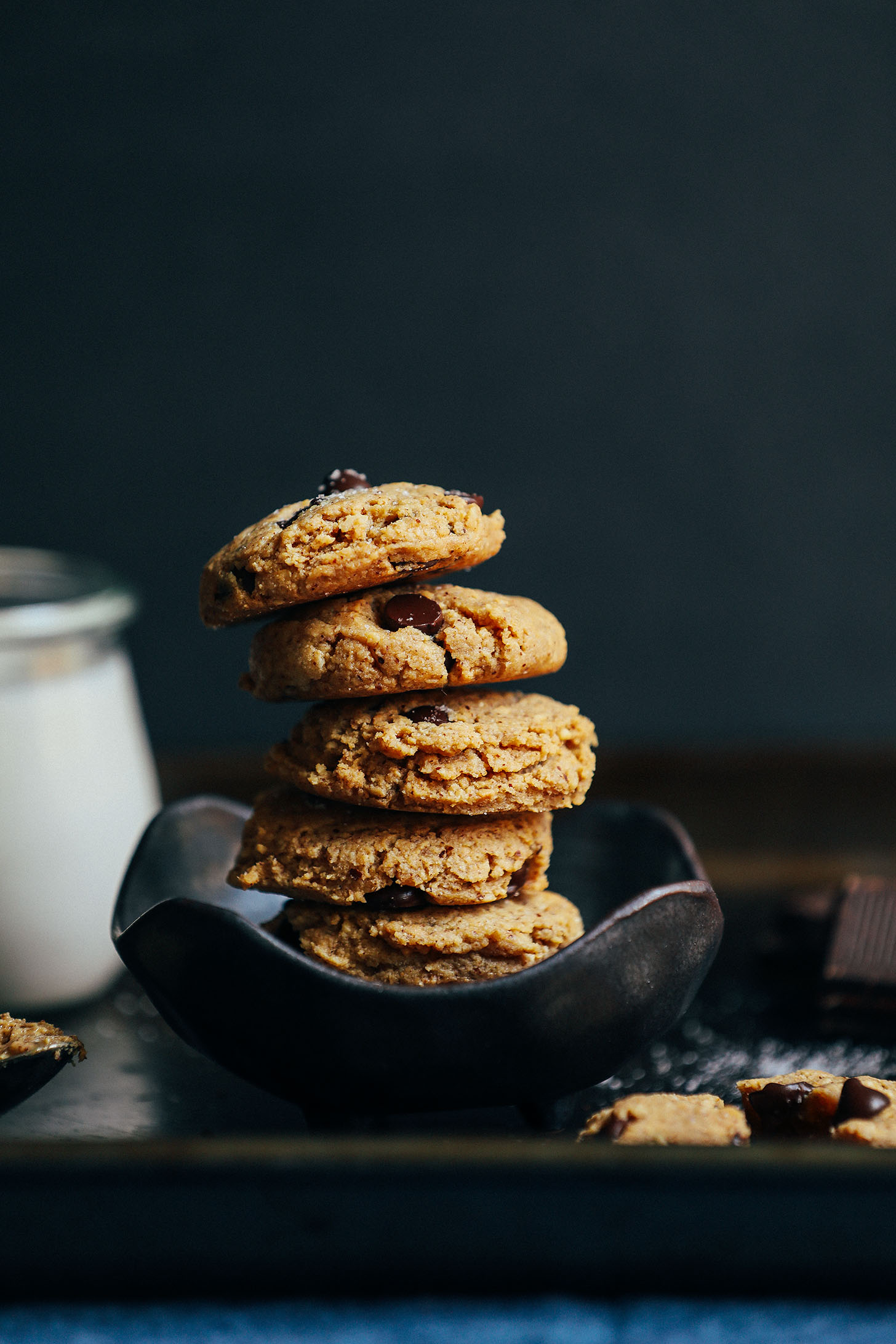 Stack of our amazing gluten-free low sugar Almond Butter Chocolate Chip Cookies
