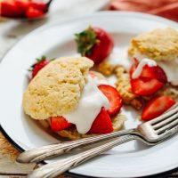 AMAZING Vegan GF Strawberry Shortcake! 30 min, 10 Ingred., SO fluffy + tender! #vegan #glutenfree #shortcake #recipe #minimalistbaker
