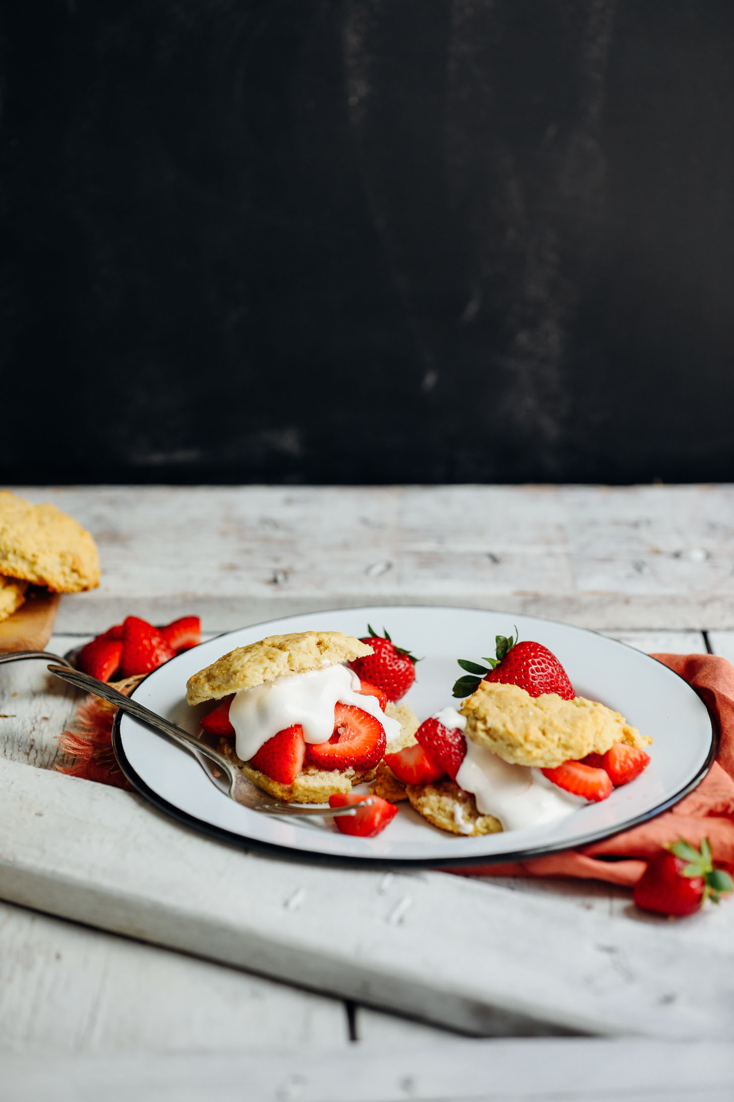 A plate with gluten-free Strawberry Shortcake for the perfect vegan dessert