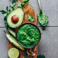 A bowl of our delicious Green Chimichurri recipe that makes the perfect dip or spread