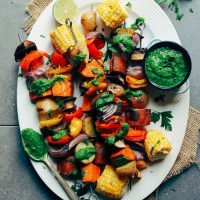 Colorful Grilled Veggie Skewers with Chimichurri for a perfect summer grilling recipe