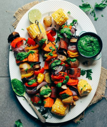 EASY + DELICIOUS Veggie Skewers w- Chimichurri! The PERFECT plant-based option for grilling season. #vegan #glutenfree #grilling #skewers #recipe #minimalistbaker