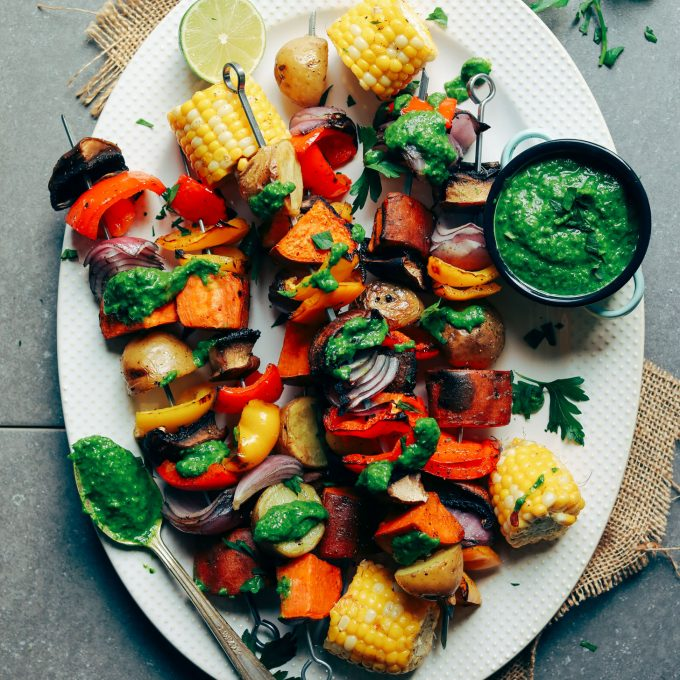 Grilled Veggie Skewers with Chimichurri Sauce