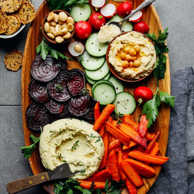 Quick and easy Vegan Crudite with Macadamia Nut Herb Cheese and goodies for dipping