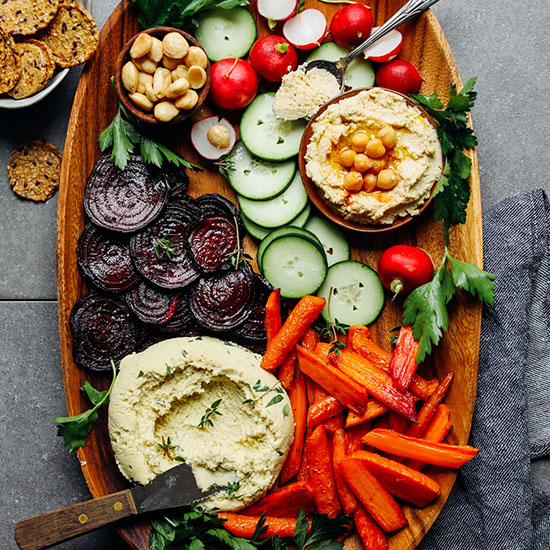 Platter of our Vegan Crudite with Macadamia Nut Cheese