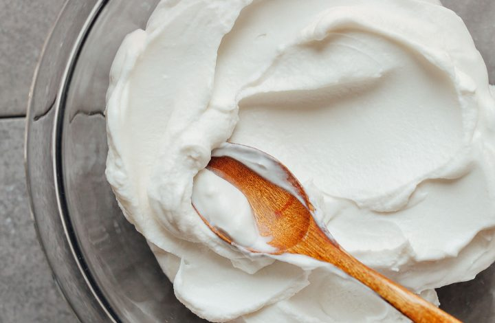 Mixing bowl with our thick and creamy homemade Coconut Yogurt
