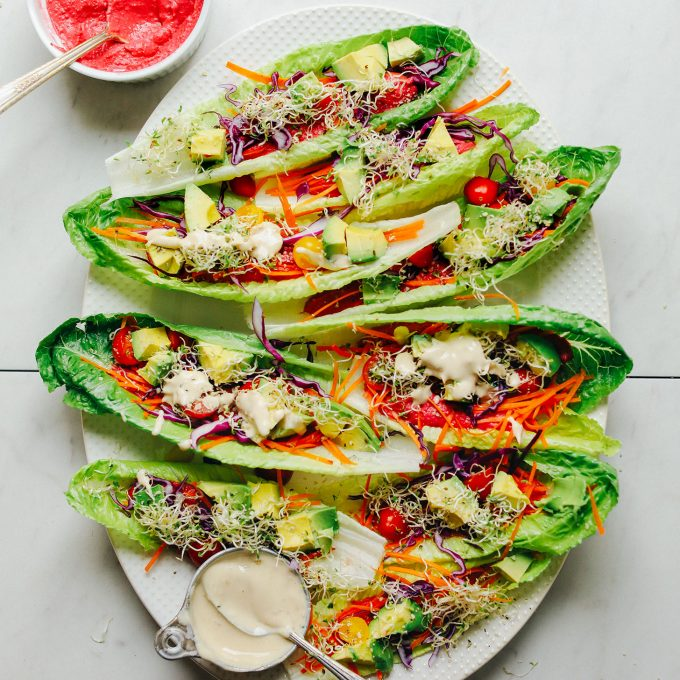 Platter full of gluten-free vegan Raw-Maine Taco Boats for a healthy plant-based meal