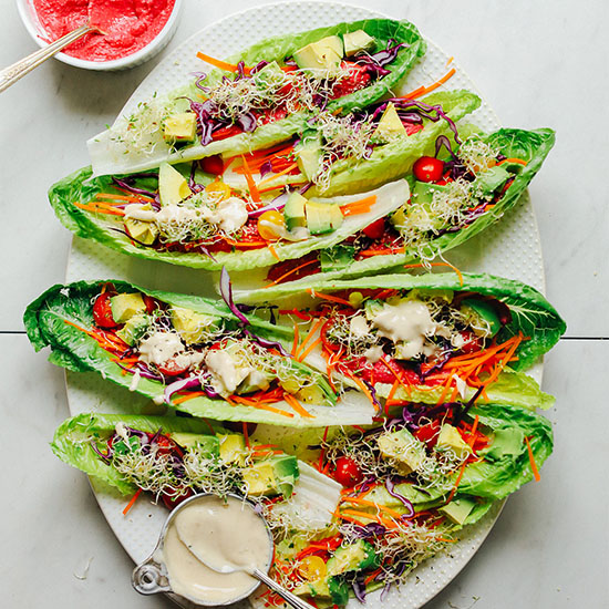 Platter of Raw Romaine Taco Boats for a refreshing vegan dinner