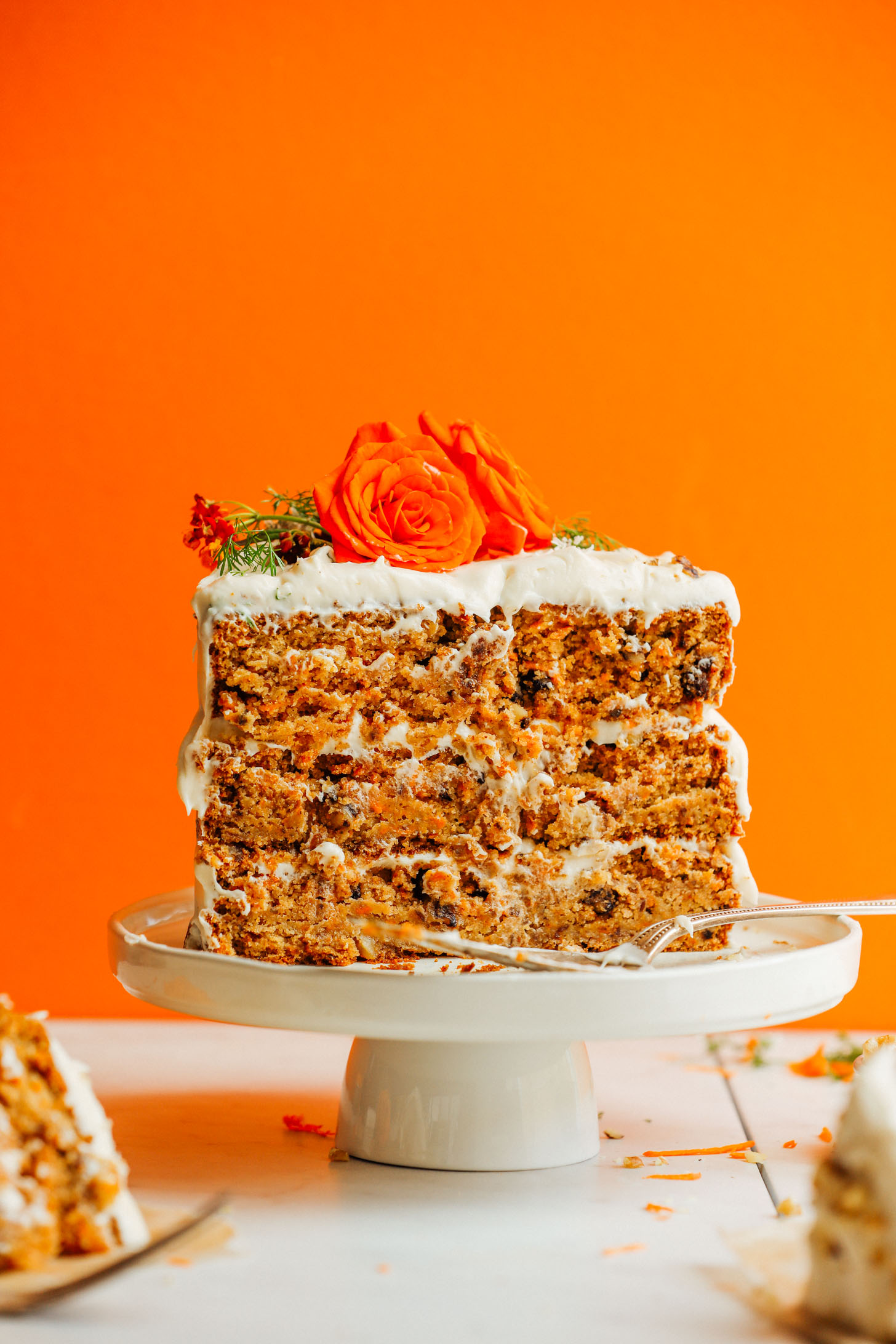 Inside view of Vegan Gluten-Free Carrot Cake on a cake stand